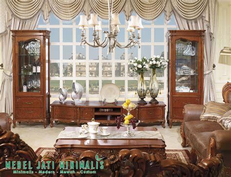 Bufet Penyekat Ruang Keluarga Jati bufet tv lemari hias ruang tamu ukiran mewah jati mebel jati minimalis