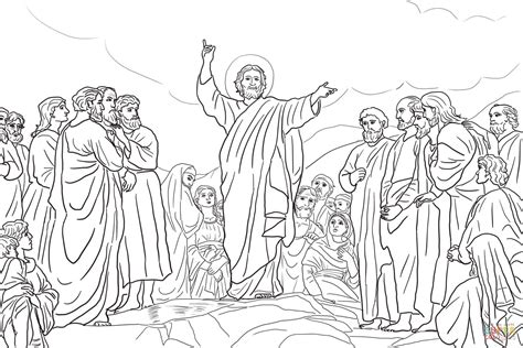 coloring pages jesus teaching jesus teaches the beatitudes coloring page free