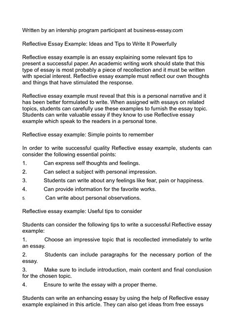 Self Reflective Essays by Self Reflective Essay Definition