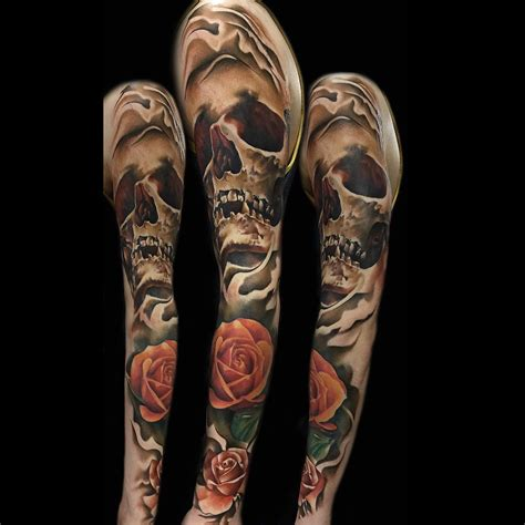 skull sleeve tattoos skull and roses sleeve best ideas gallery