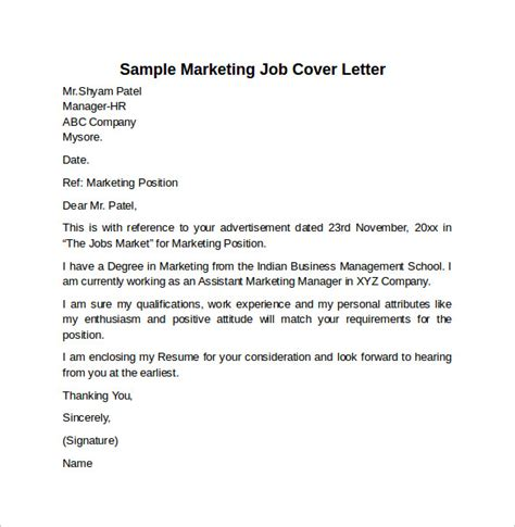 marketing cover letter exle cover letter exle for 10 free documents