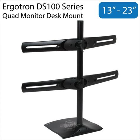 ergotron ds100 quad monitor desk stand ergotron ds100 13 23 inch quad monitor desk mount unbox my