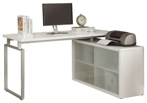 white hollow corner desk computer desk cappuccino corner with frosted glass
