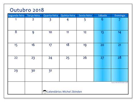 Calendario 2018 Mes De Outubro Calend 225 Rios Para Imprimir Outubro 2018 Cor Portugal
