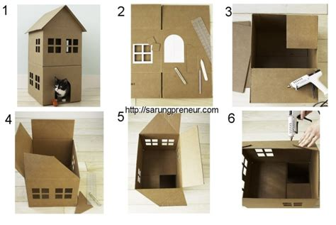 cara membuat rumah menggunakan batang aiskrim cara membuat kerajinan tangan dari barang bekas kardus