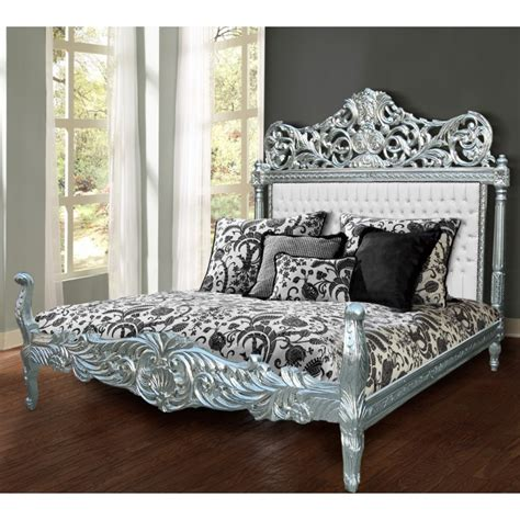 baroque bed baroque bed fabric faux leather white with rhinestones and