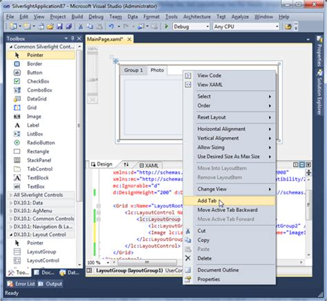 devexpress layoutgroup header silverlight layout control design time support in visual