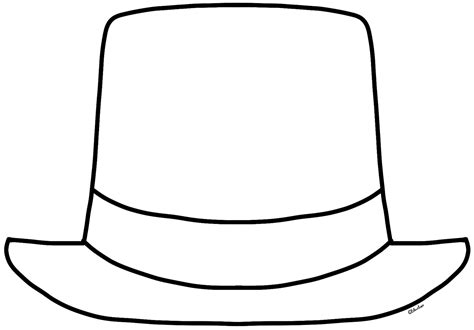 Hat Outline Template top hat template clipart best
