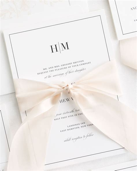wedding ribbon glam monogram ribbon wedding invitations ribbon wedding