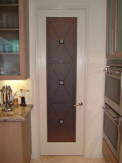 etched glass pantry door cross hatch pantry  photo