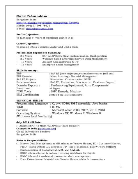 sle resume for sap abap 1 year of experience sap abap 2 years experience resume 100 images sap