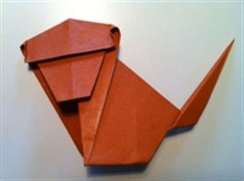 Easy Origami Monkey - origami monkey and diagram