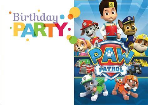 Free Paw Patrol Happy Birthday Card printable paw patrol birthday invitation free invitation