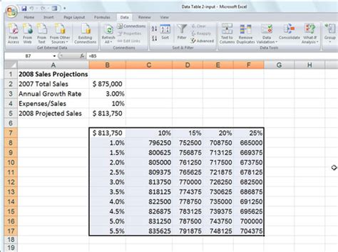 Create A Data Table by How To Create A Two Variable Data Table In Excel 2007