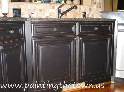 Black Distressed Kitchen Cabinets Painted Kitchen Cabinets Mediterranean Kitchen By Painting The Town Inc
