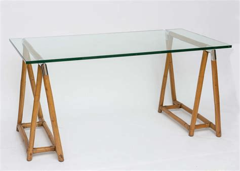 Glass Trestle Dining Table Bamboo Trestle Table With Glass Top And Chrome Detail At 1stdibs