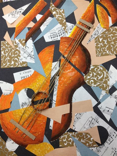 Picasso Cubism Guitar Picasso Guitar Cubist Collage Collage Mixed Media