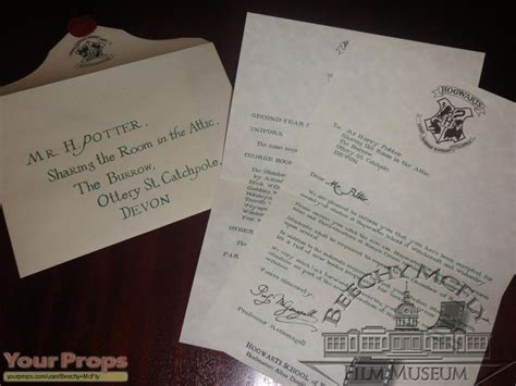 Harry Potter Acceptance Letter Replica Harry Potter And The Chamber Of Secrets Harry Potter 2nd Year Hogwarts Letter The Room