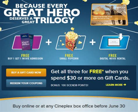 How To Use Cineplex Gift Card Online - cineplex canada offers spend 30 on gift cards and receive free cineplex products