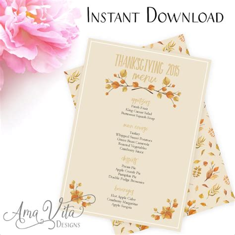 free thanksgiving menu templates thanksgiving menu template 27 free psd eps format