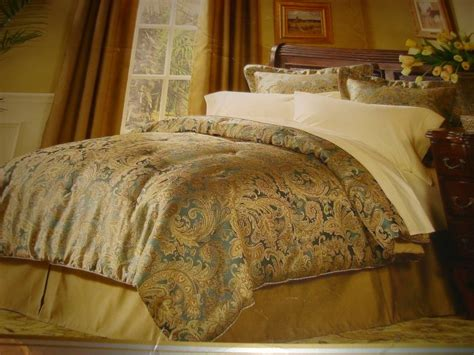 gold comforter sets queen raymond waites queen comforter set 4 pc teal gold
