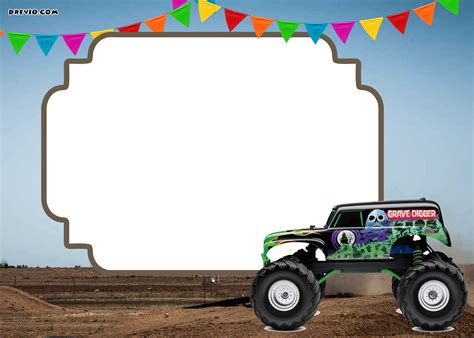 free monster truck videos monster trucks invitation templates free printable