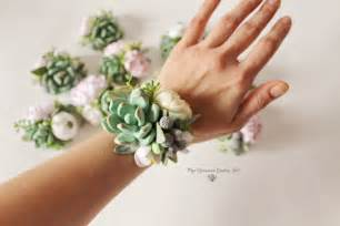 corsage colors succulent corsage bracelet wedding flowers groom boutonniere