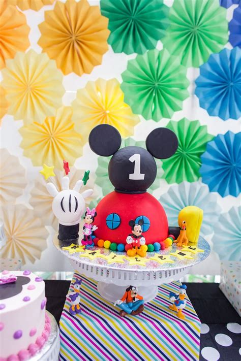 Mickey Mouse Clubhouse 1st Birthday Decorations by Kara S Ideas Modern Rainbow Mickey Mouse Clubhouse