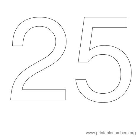 printable numbers 1 25 9 best images of printable number 25 printable number 1