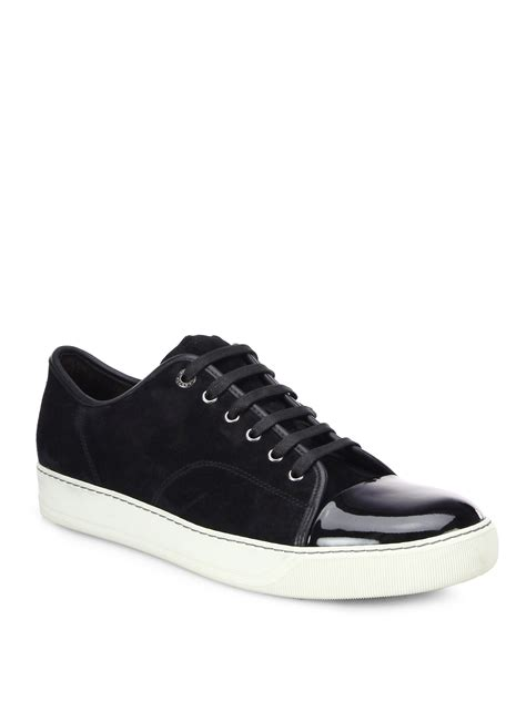 mens black patent leather sneakers lanvin suede patent leather low top sneakers in black