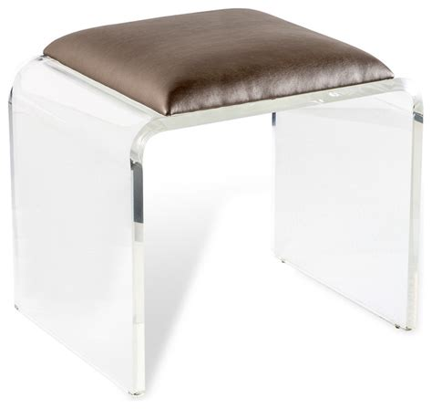 clear acrylic vanity stool mira acrylic stool clear mica contemporary vanity