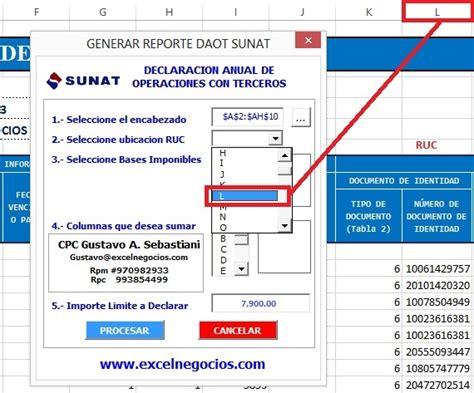 sunat daot macro para calcular y generar reportes para la daot sunat 2017