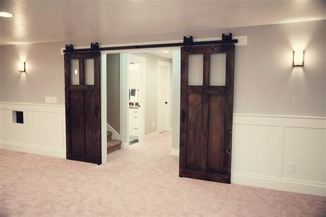 Two Piece Of Rustic Dark Espresso Sliding Barn Doors On Rustic Sliding Barn Doors