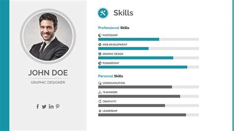 Simple One Page Resume Sample by Resume Powerpoint Template By Pptx Graphicriver