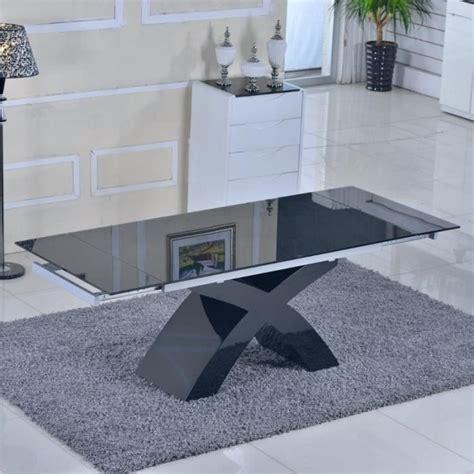 table en verre noir 224 rallonges extensible elix achat