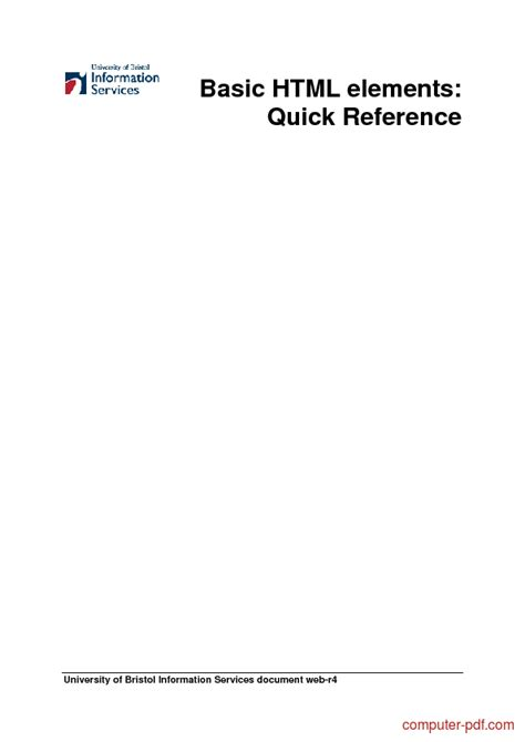 [PDF] Basic HTML elements Quick Reference free tutorial