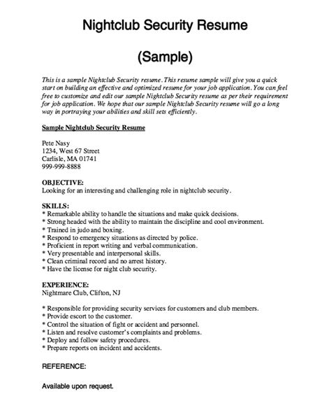 Nightclub Security Resume Sample   RESUMES DESIGN