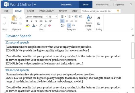 Free Speech Sles elevator speech template for delivering a sales