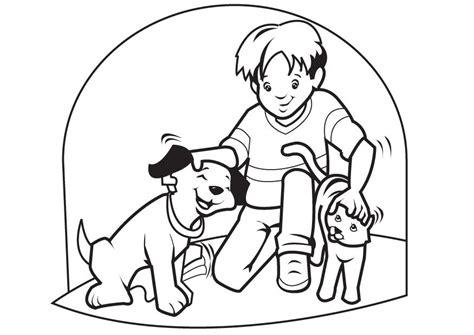 imagenes de niños jugando con animales coloreando ni 241 os jugando con sus mascotas colorear im 225 genes