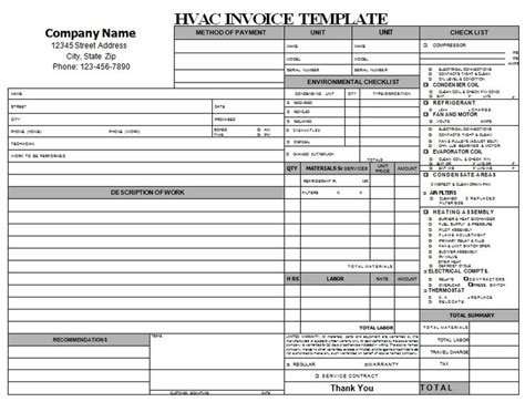 hvac invoice template hvac repair invoice hvac invoice templates