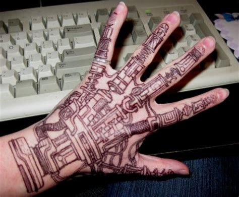 robot hand tattoo god be henna robotic geekologie