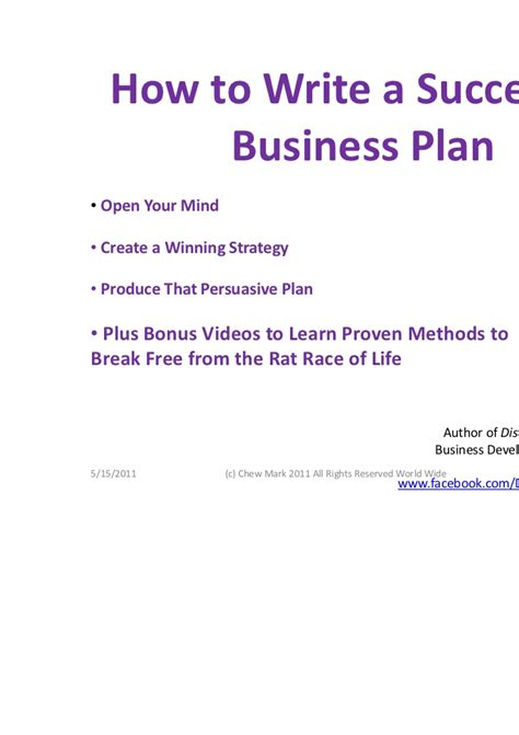 how to write a successful business plan by chew