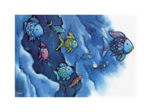 Sea Life Wall Murals rainbow fish plays with all his friends marcus pfister