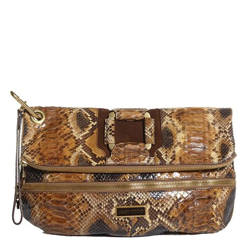 Clutch A Marin Jimmy Choo Clutch Bag Just Like Hilary Duff by Jimmy Choo Python Marin Foldover Clutch Brown 100477