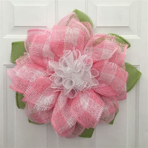 22000 Pink Flower Mesh pink flower wreath babies room decor s day gift paper mesh flower wreath