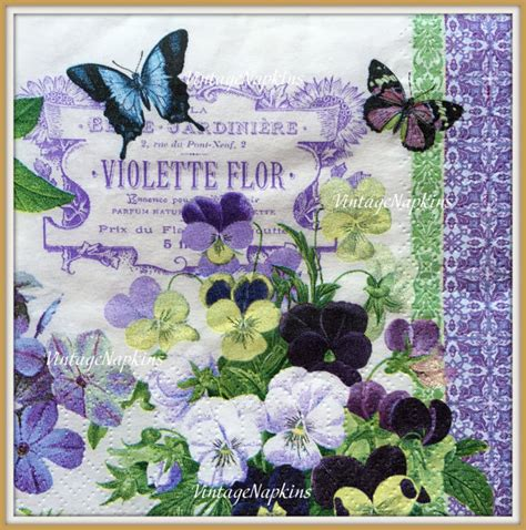 Decoupage Napkins For Sale - sale two paper napkins for decoupage vintage violets and