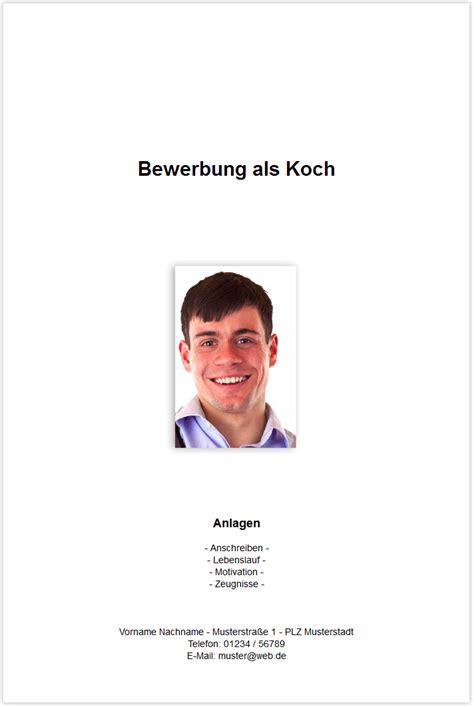 Bewerbung Als Koch Bewerbungsdeckblatt Koch Kchin