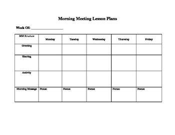 morning meeting lesson plan template morning meeting lesson plan template by live2teach123 tpt