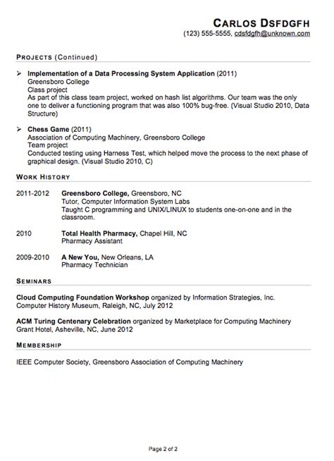 Functional Resume Sample: IT Internship