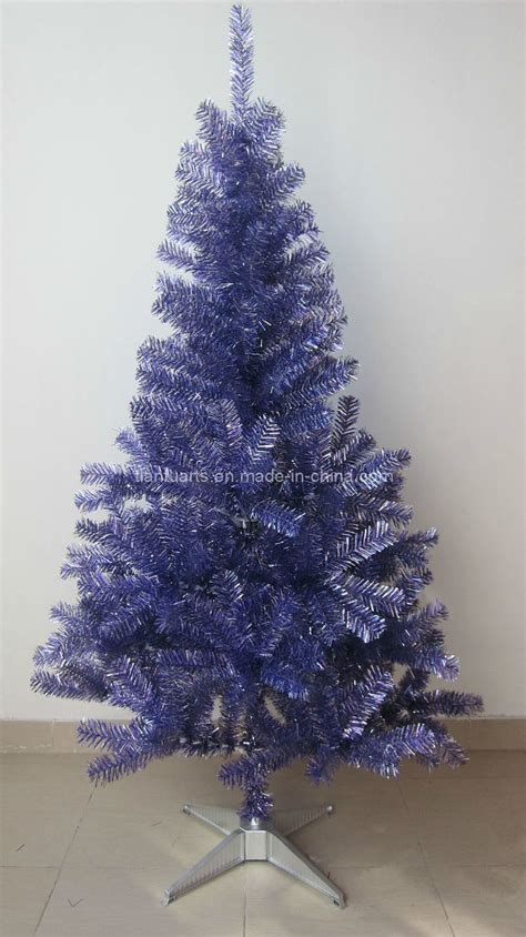 1 5m christmas tinsel tree holographic silver purple